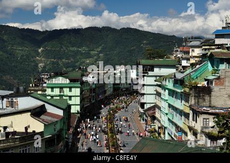 Avis de Gangtok, Sikkim Sikkim, l'Est, Inde Banque D'Images