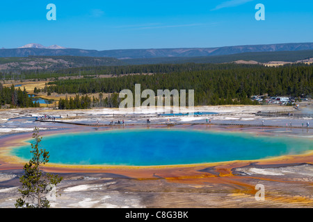 Grand Prismatic piscine dans le parc national de Yellowstone Banque D'Images