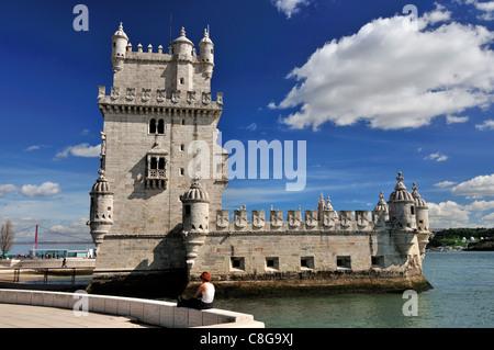 Portugal, Lisbonne manuélin: Tour de Belém en marge du Tage Banque D'Images