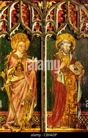 Filby, Norfolk, jubé, Sainte Catherine d'Alexandrie avec des roues, l'épée, Saint Pierre avec les clés homme saint Banque D'Images