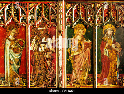 Filby, Norfolk, jubé, Sainte-Cécile, George, Catherine d'Alexandrie, Peter homme femme saint saints médiévaux Anglais Banque D'Images