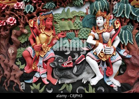 Peinture murale représentant des scènes du Ramayana Banque D'Images