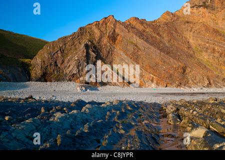 Couches repliées dans les falaises de Hartland Quay, North Devon, Angleterre, Royaume-Uni, Europe Banque D'Images