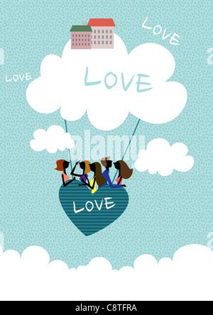 Couple en forme de coeur Hot Air Balloon Banque D'Images