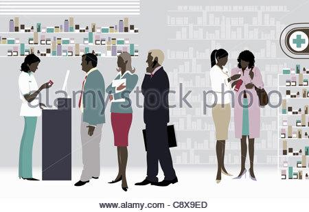 Personnes en ligne à la pharmacie Banque D'Images