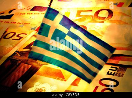 Grèce: les billets et drapeau grec, illustration Banque D'Images