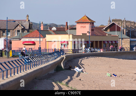Northumberland - Spittal beach, au sud de Berwick-on-Tweed, ville de bord de mer. Banque D'Images