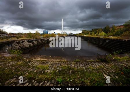 Voir l'est sur le bassin sud du Prince's Docks, Govan, Glasgow Banque D'Images