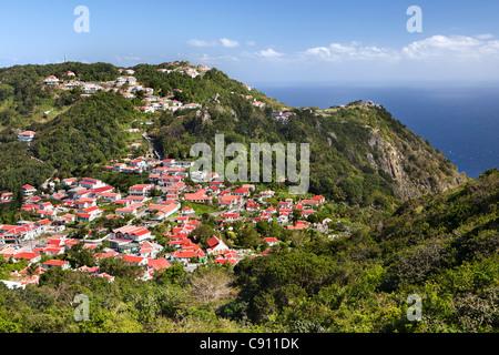 Aux Pays-Bas, La Serena, l'île de Saba, Antilles néerlandaises. Village. Banque D'Images
