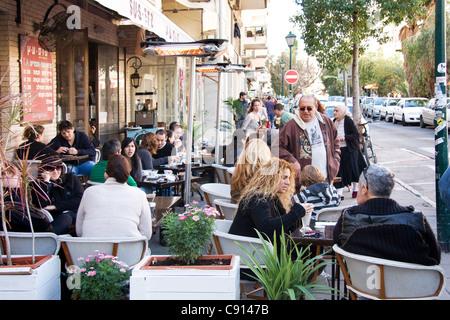 Israël Tel Aviv Sheinkin Street Cafe Banque D'Images