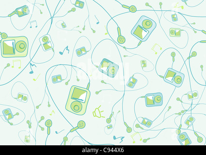 Retro Seamless Pattern fait de cool hand-drawn mp3 en différentes couleurs. Banque D'Images