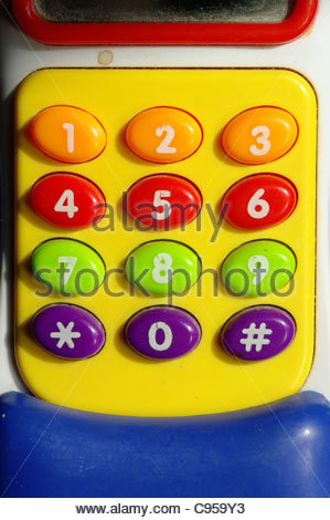 Plastique en couleur téléphone touches chiffres chiffres Banque D'Images
