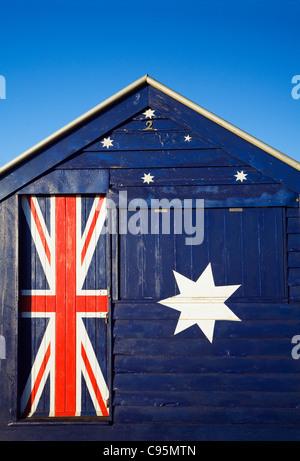 Australien iconique beach hut à la plage de Brighton, à Melbourne, Victoria, Australie Banque D'Images