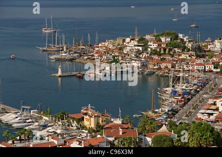 Vieille ville et du port de Marmaris, Mugla, Turquie Banque D'Images