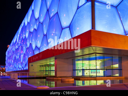 Le cube d'eau Le Centre national de natation natation arena dans le parc olympique, Beijing, République populaire Banque D'Images
