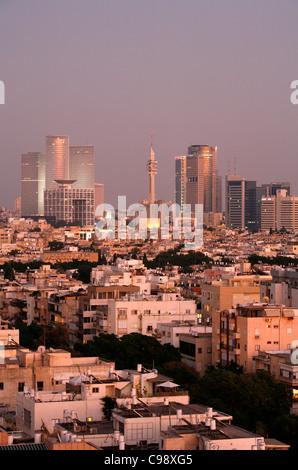 Vue sur les toits de Tel Aviv, Israël. Banque D'Images