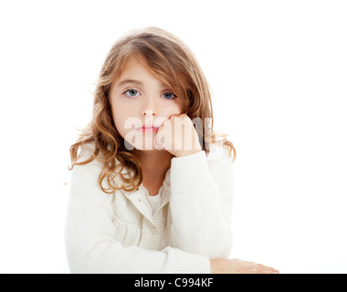 Brunette girl portrait kid on white background studio isolé table bureau Banque D'Images