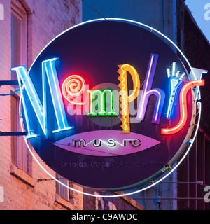 Memphis en néon Banque D'Images