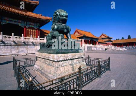Mâle Gardien Impérial Chinois Lion Sculpture en face du hall de l'harmonie suprême de la Cité Interdite, Pékin, Banque D'Images