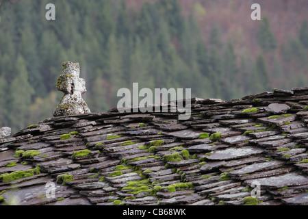 Toiture en ardoise d'une église orthodoxe croix. Des dalles en pierre avec de la mousse et les lichens sur toit. Banque D'Images