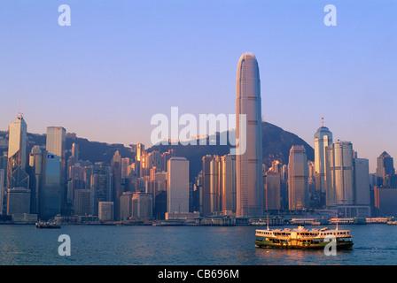 La Chine, Hong Kong, ville et Victoria Peak Banque D'Images