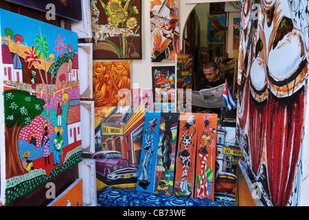 Art Shop, Jacinto Rodriguez Viamontes 'Plaza El Cristo' La Havane (La Habana, Cuba) Banque D'Images