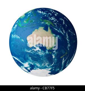 Globe montrant le continent de l'Australie sur la planète terre Banque D'Images