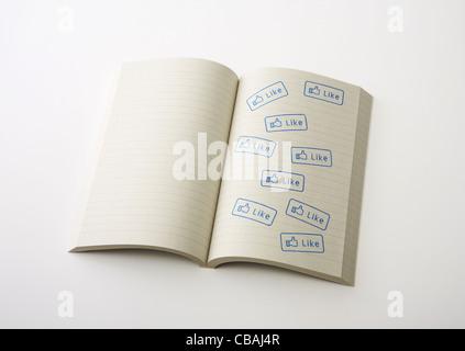Ordinateur portable avec 'Like' stamps Banque D'Images