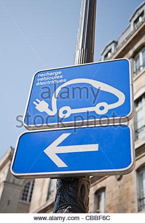 Station de recharge pour voitures électriques sign Banque D'Images