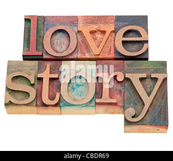 Histoire d'amour - des mots isolés en bois blocs typographie vintage Banque D'Images