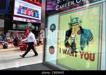 Oncle Sam street sign - Je vous veux - poster à Manhattan New York NY, appelant les gens à se joindre à l'Amérique Banque D'Images