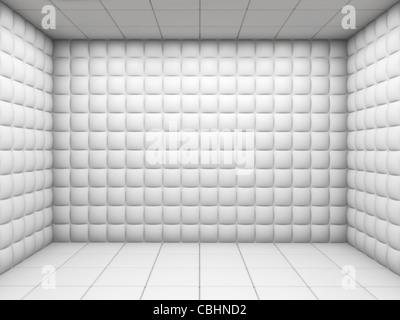 L'hôpital mental blanc chambre capitonnée avec copie espace vide Banque D'Images
