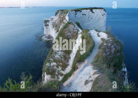 Vers un large bleu de l'horizon. Sur un chemin qui ne mène nulle part sur de vertigineuses falaises de craie. Old Banque D'Images