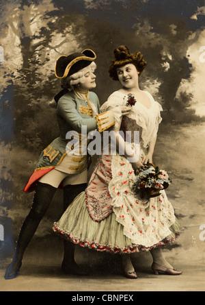 18e siècle Classe supérieure Couple Flirting Banque D'Images