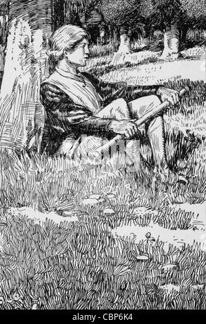 Roi Arthur se trouve dans une forêt, avec l'ancien oaks sur lui comme tuteurs. géant Banque D'Images