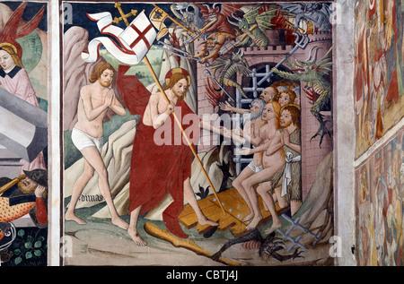 La descente aux enfers du Christ (1492-1530), fresque de Giovanni Canavesio, Chapelle Notre Dame des Fontaines, Banque D'Images