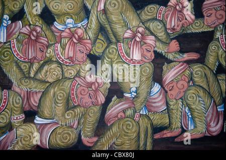 Grand Palace, Bangkok. Détails de la peinture murale représentant l'histoire de Ramayana (Ramakien) Banque D'Images