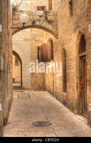 Les image de Vertical Old street dans la partie historique de Jérusalem, Israël. Banque D'Images