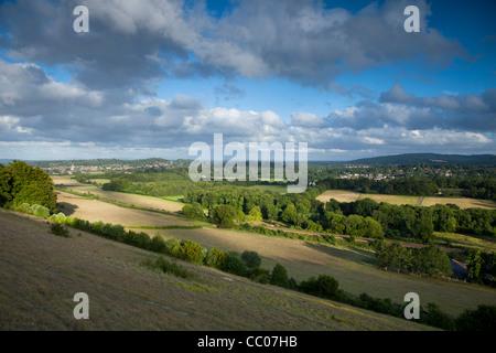 Vue sud de Ranmore Common, Dorking, Surrey Hills, North Downs, Surrey Banque D'Images