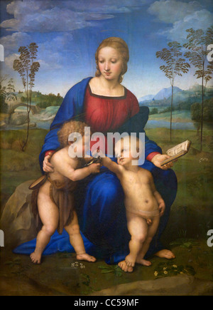 Madone du chardonneret, Vierge à l'enfant avec Jean le Baptiste, 1507 par Raphael, Galerie des Offices, Florence, Banque D'Images