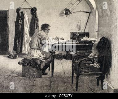 Léon Tolstoï (1828-1910). L'écrivain russe. Totlstoy dans sa salle de travail. Banque D'Images