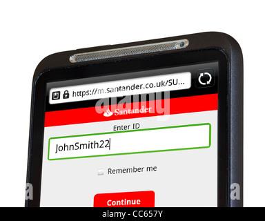 Mobile Banking avec Santander sur un smartphone HTC Banque D'Images