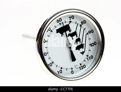 Thermomètre analogique, thermomètre de cuisson, pour contrôler la température d'un steak, d'un rôti.