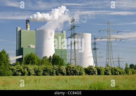 Une centrale électrique de la société E.ON Energy, Schkopau, Saxe-Anhalt, Allemagne, Europe Banque D'Images
