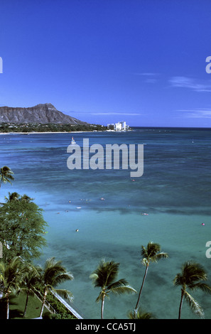 La plage de Waikiki Banque D'Images