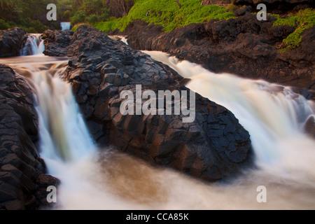 Ohe'o Gulch - aka sept piscines sacré, Haleakala National Park, près de Hana, Maui, Hawaii. Banque D'Images