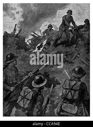 1916 soldat allemand faux drapeau de la Croix-Rouge puis mitraillés en embuscade britannique piégés piège fusil baïonnette gunner crew shot