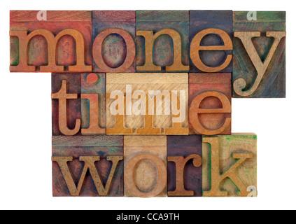 Stratégie de gestion concept - l'argent, du temps et de la qualité des mots en typographie vintage type en bois Banque D'Images