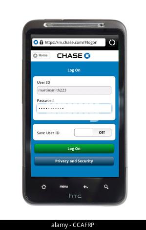 Session sur les services bancaires en ligne avec Chase Bank sur un smartphone HTC Banque D'Images