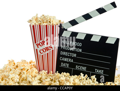 Movie Clapper Board en popcorn isolated on white Banque D'Images